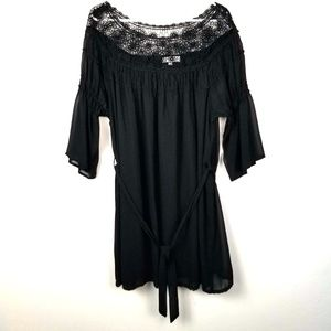 Umgee Belted Tunic Crochet Lace XL On/Off Shoulder